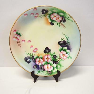 """UC LIMOGES France 13"""" Signed Floral Collector Plate Hand Painted Gilt Trim"""