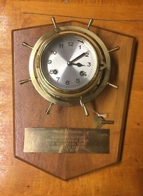 Hermle Ships Bell Clock On Brass Helm Mounted On Plaque  Navy Gift 1973