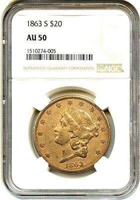 1863-S $20 NGC AU50 - Civil War Era Double Eagle - Civil War Era Double Eagle