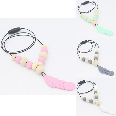 Silicone Feather Beads Teething Necklace Baby Teether Chew Toy Jewelry BPA Free