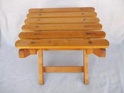 328 / Vintage Small Wooden Folding Stool . Ideal For Keeping In The Car