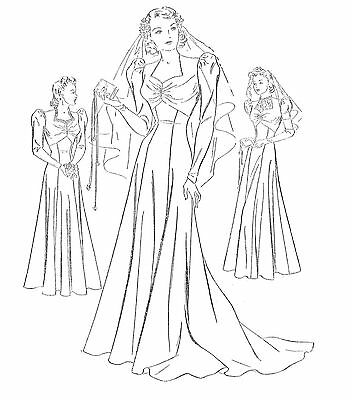 #47 30's Wedding Gown With Cathedral Train And Evening Gown Pattern