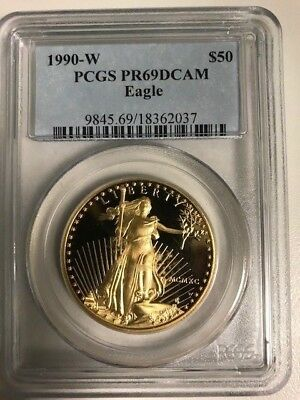 1990-W 1 oz Proof American Gold Eagle Coin PCGS PR69 DCAM
