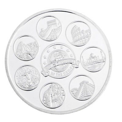 Silver Plated New Seven Wonders of the World w/Box Protector Coin Model Toys