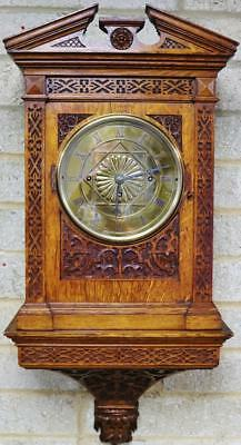 Antique English Carved Oak Triple Fusee Musical 8 Bell Bracket Clock On Bracket