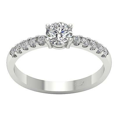 Natural Diamond Solitaire Anniversary Ring Band I1 H 0.75Carat White Gold SZ 4-8