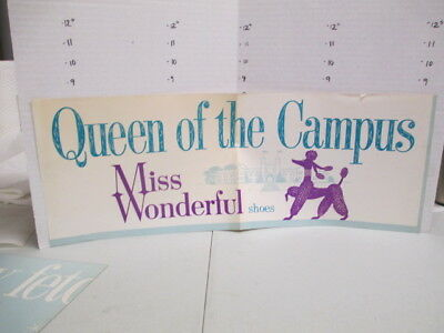 MISS WONDERFUL SHOES 1960s store poster women's clothing poodle CAMPUS QUEEN