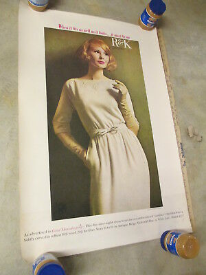 """R&K women's clothing 1960s store display sign poster 36"""" unused evening dress"""