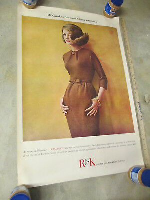 """R&K women's clothing 1960s store display sign poster 36"""" unused KASHNIT dress"""