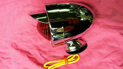 Chromed Bullet Light With Peak and Red Lens will fit Lambretta and Vespa