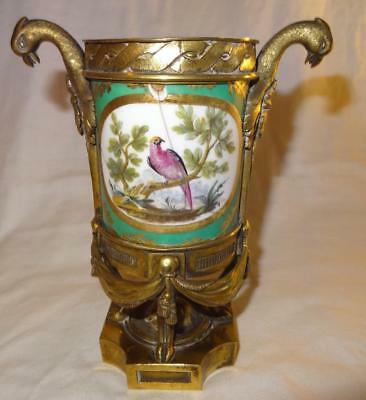 Unusual Early Sevres French Porcelain Pot with Superb Ormolu Mount as an Inkwell