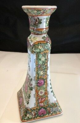 "Single Vintage Porcelain Ceramic Art Nouveau Painted Floral 8.5"" Candlestick"
