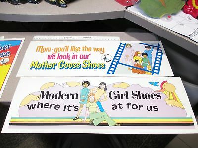 Mother Goose Shoes 1970s store display (2 items) mod girls bell bottoms banner