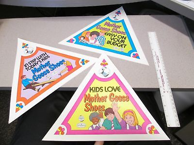 Mother Goose Shoes 1980 store display (3 items) triangular paper signs SET B