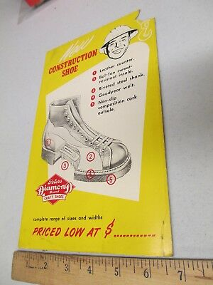 Peters Diamond construction work boots 1950s vintage clothing store display sign