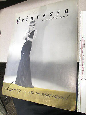 PRINCESSA 1940s vintage lingerie women store display sign pinup evening gown