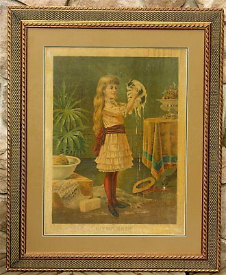 1880s DINGMANS SOAP CHROMOLITHOGRAPH ADVERTISING SIGN - GIVING THE CAT A BATH