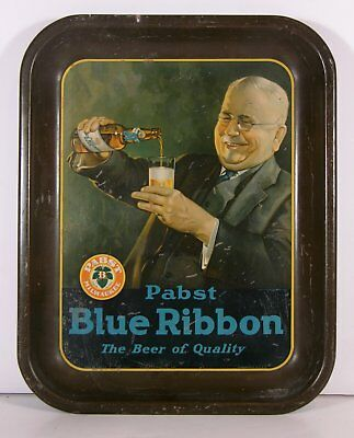 1930s PABST BLUE RIBBON BEER TIN LITHOGRAPH ADVERTISING BEER TRAY / SERVING TRAY