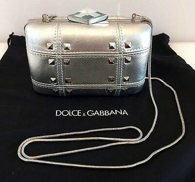 3430ac75de35 Franchi Silver Leather Studded Evening Clutch Or Shoulder Handbag D G Dust  Bag