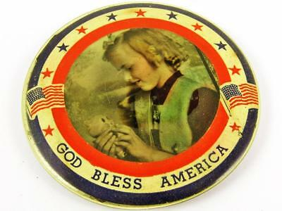 Antique Wwi God Bless America Patriotic Home Front Celluloid Pocket Mirror