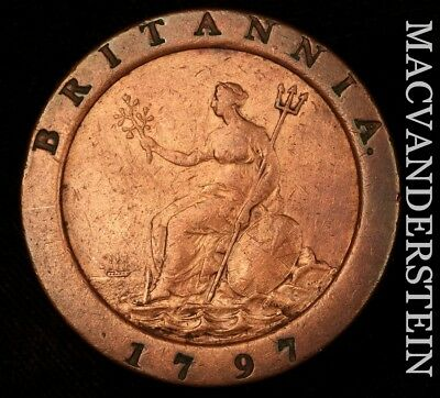 Great Britain: 1797 Two Pence- Scarce !! Extra Fine !!  #h4725