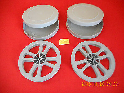 (2) *NEW* 16mm  400' REEL & CAN SETS  PLASTIC (GRAY)   NICE