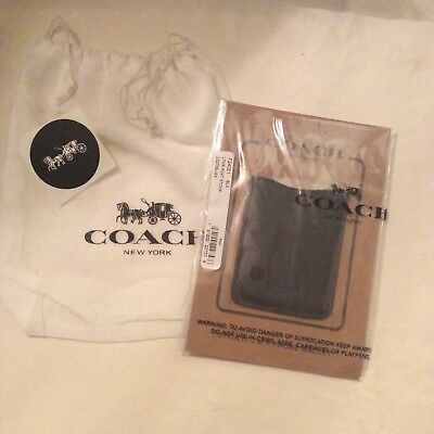 COACH leather stick CELL phone case wallet money credit card men adhesive HOLDER