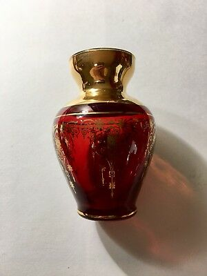 Antique Small Vase Cranberry Red With Gold Trim