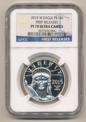 2015-W $100 Platinum Eagle NGC PF70 FIRST RELEASES Proof Eagle LOWEST MINTAGE