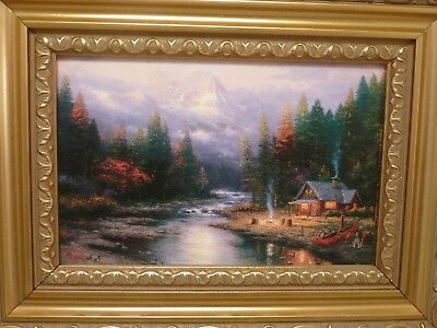The CABIN BY LAKE SMOKE Canvas Painting By Thomas Kinkade In 95x75 Frame