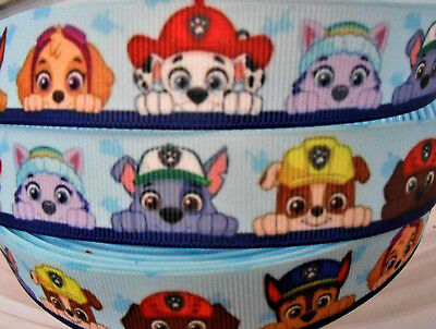 "2 or 5 Yards PAW PATROL peekers 7/8"" 22mm Grosgrain Ribbon Card Cake Bow Craft"