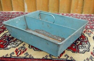 Antique Edwardain Blue Tin Toleware Housemaids Box Work Tray With Carry Handle