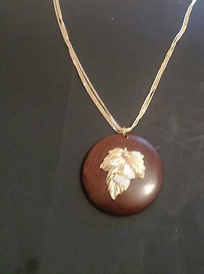 """Mother of Pearl 3-D Butterfly on Wood  Pendant  on Triple 14K Gold EP 32"""" Chain"""