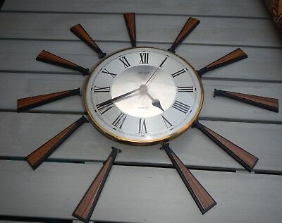VINTAGE 1960s RETRO ICONIC METAMEC SUNBURST~STARBURST WALL CLOCK FOR SPARES
