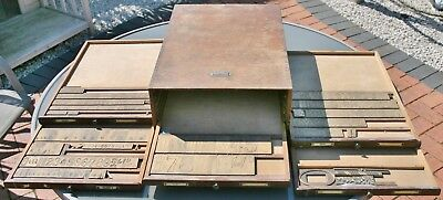 MASSEELEY 6 Drawer Printers Type Cabinet with various Brass Letter Press Fonts