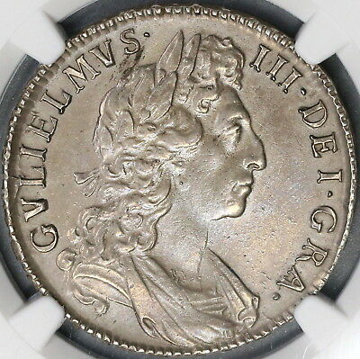 1698 NGC AU William III Silver 1/2 Crown GREAT BRITAIN Coin (18052602C)