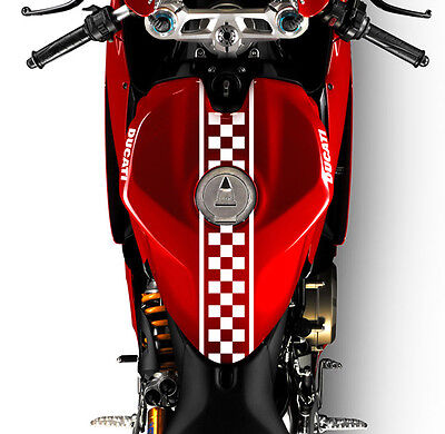 "(2) 24"" Motorcycle Checkered Racing Decal Sticker Cafe Racer Custom Made Colours"