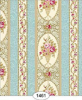 Miniature Dollhouse Wallpaper 1:12 Scale Parisian Floral Stripe - 1461