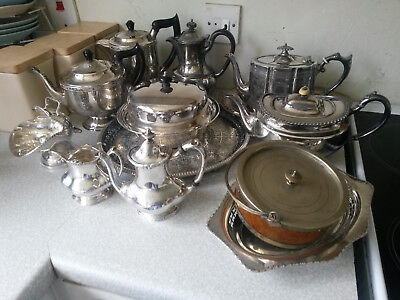 Job Lot / Collection Of Silver Plated Items- Teapots Etc
