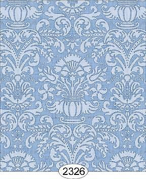 Miniature Dollhouse Wallpaper 1:12 Scale - Annabelle Damask Blue Serenity-2326