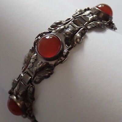 Antique Art Deco Germany Sterling Silver Carnelian Leaf Bracelet