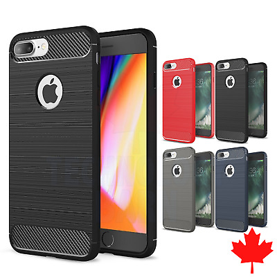For Phone 7 Plus & iPhone 8 Plus - Rugged Armor Carbon Fibre Brushed TPU Case