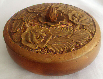 Vintage-Stunning  Hand Carved  / Turned 7 Inch Lidded Bowl With Finial