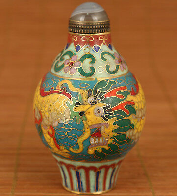 Noble Antique Chinese Old Hand Carved Dragong Big Statue Cloisonne Snuff Bottle