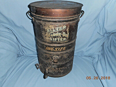 AAFA ANTIQUE 1800s SILVER BRAND FLOUR BIN SIFTER 10lb TOLE PAINTED COMPLETE