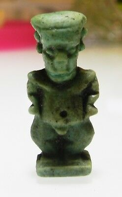 Zurqieh - As5323- Ancient Egypt, Large Faience Pataikos Amulet. 600 - 300  B.c