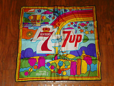 Vintage Seagram's & 7 Up 7Up Scarf Peter Max Style Made In Italy Whiskey