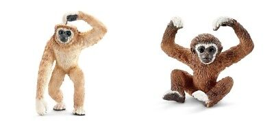 2pcs Schleich adult & young Lar Gibbon ape toy figure new w/ tag free shipping