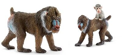 2 pcs Schleich male & Female & Young Mandrill toy figure new w/ tag 14715 14716