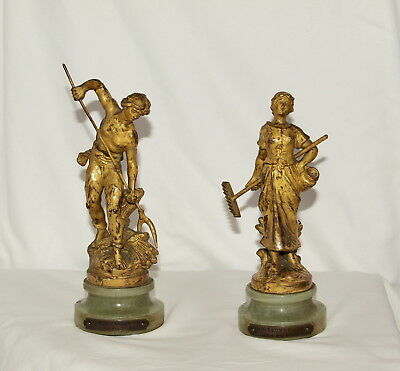 Pair of Antique French Gilt Bronze Figures of Harvesters ; Auguste Moreau